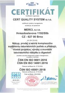 ČSN EN ISO 9001:2016, ČSN EN ISO 14001:2016, ČSN ISO 45001:2018